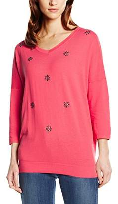 Basler Women's Light Rose Knit Top with Swarovski Stones Plain 3/4 Sleeve Jumper,8 (Manufacturer Size:34)