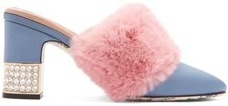 Gucci Faux-fur embellished satin mules