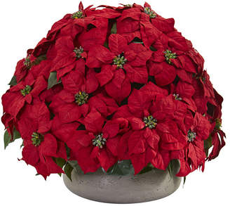 Nearly Natural Large Poinsettia Artificial Plant in Stone Planter