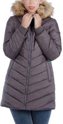 Modern Eternity Faux Fur Trim Convertible Puffer 3-in-1 Maternity Jacket