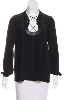 Emilio Pucci Leather-Trimmed Silk Top w/ Tags