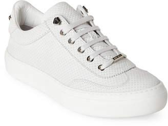 Jimmy Choo White Ace Embossed Low Top Sneakers