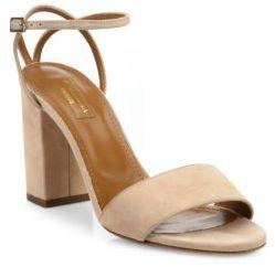 Aquazzura Tahiti Suede Ankle-Strap Block Heel Sandals $695 thestylecure.com