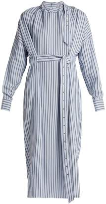 Tibi Belted striped dress
