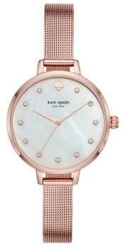 Kate Spade Metro Three-Hand Stainless Steel Mesh Bracelet Watch