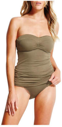 Seafolly NEW Quilted CD Bandeau Singlet Olive