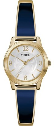 Timex Women's Stretch Bangle 25mm White/Silver-Tone Watch, Stainless Steel Expansion Band