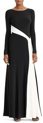 Lauren Ralph Lauren Contrast-Stripe Gown $180 thestylecure.com