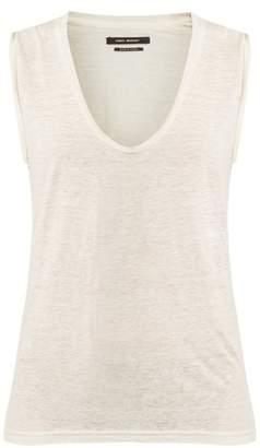 Isabel Marant Maik Scoop Neck Linen T Shirt - Womens - White