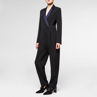 Women's Black Wool Tuxedo-Jumpsuit $925 thestylecure.com