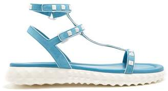 Valentino Free Rockstud Suede Sandals - Womens - Light Blue