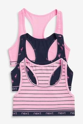 Next Girls Navy/Pink 3 Pack Racer Back Crop Tops (Older) - Blue