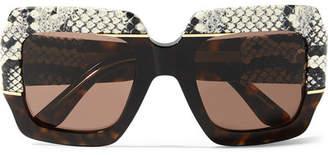 b44c8c3860a21 Gucci Oversized Square-frame Watersnake-trimmed Tortoiseshell Acetate  Sunglasses - Brown
