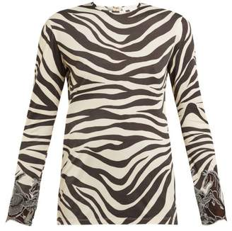 Chloé Zebra Print Long Sleeved Top - Womens - Black Print