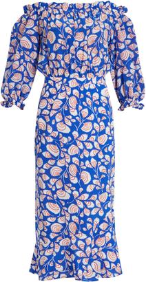 SALONI Gracie off-the-shoulder feather-print silk dress $562 thestylecure.com
