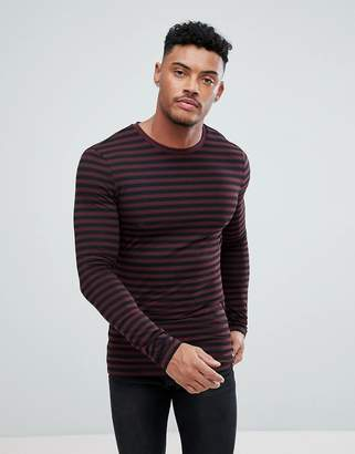 Asos DESIGN stripe long sleeve muscle t-shirt in black and burgundy