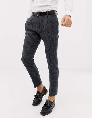 Asos Design DESIGN wedding slim suit pants in 100% wool Harris Tweed blue micro check
