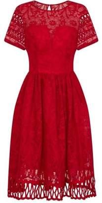 Dorothy Perkins Womens *Chi Chi London Red Crochet Midi Skater Dress