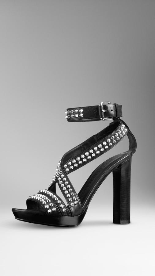 Burberry Studded Leather Platform Sandals