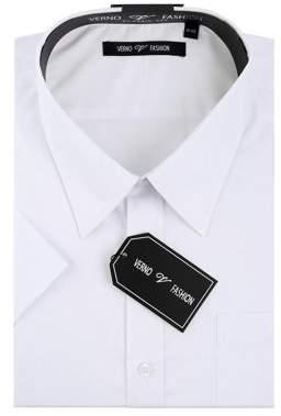 Verno Big Men's White Classic Fit Short Sleeves Dress Shirt