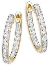 Jude Frances Women's Lisse Diamond Small Oval Hoop Earring