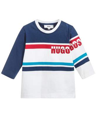 HUGO BOSS Kids Striped Front Logo T-shirt