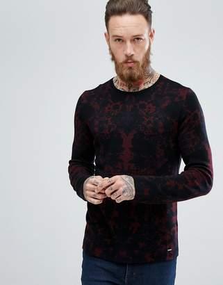 HUGO Camo Jaquard Sweater In Red