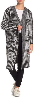 Joseph A Houndstooth Plaid Hooded Long Cardigan (Petite)