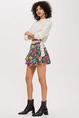Topshop Petite Floral Pleat Mini Skirt