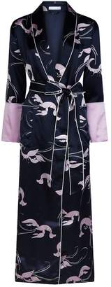 Olivia von Halle Capability Lobster Long Silk Robe