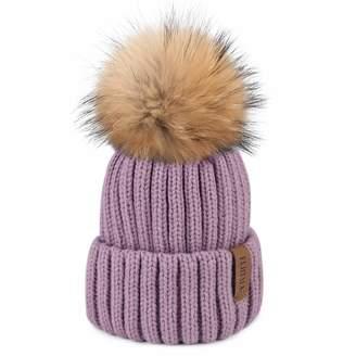 9c269cfc81b FURTALK Womens Girls Winter Fur Hat Real Large Raccoon Fur Pom Pom Beanie  Winter Hats (