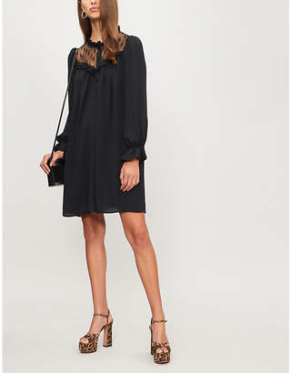 Claudie Pierlot Rosalie lace-trim crepe dress