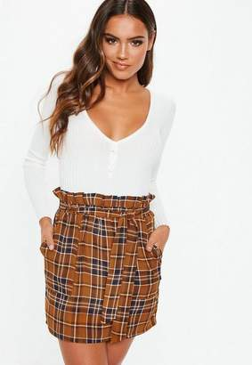 Missguided Mustard Paper Bag Plaid Mini Skirt