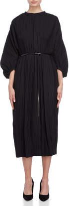 Jil Sander Crinkle Belted Midi Dress