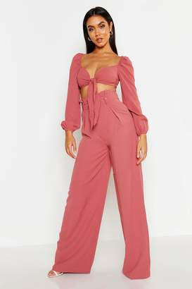 boohoo Tie Front Crop Belted Wide Leg Pants Co-Ord