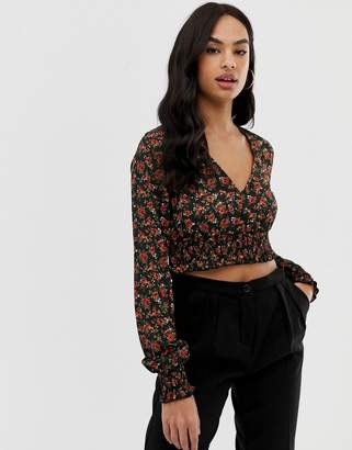 Fashion Union long sleeved cropped blouse with shirring detail
