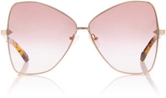 c06ba9db92ed4 Karen Walker Queen Cat-Eye Gold-Tone Sunglasses