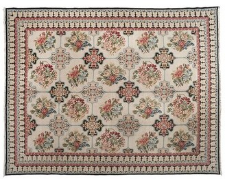 "Aga John Oriental Rugs One-of-a-Kind European Hand-Knotted 9'1"" x 11'1"" Wool Beige/Pink Area Rug Aga John Oriental Rugs"
