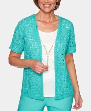 Alfred Dunner Petite Coastal Drive Cotton Layered-Look Necklace Top