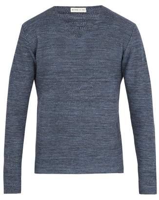 Etro V Neck Cotton Blend Knit Sweater - Mens - Navy