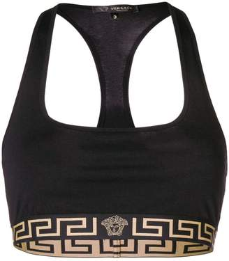 Greek key logo trim sports bra