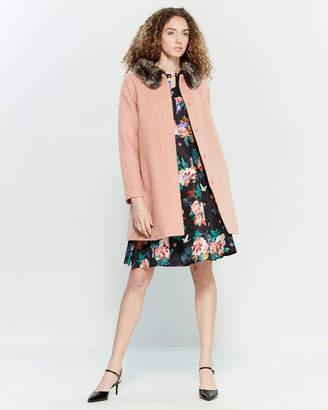 Yumi Pink Faux Fur Collar Coat
