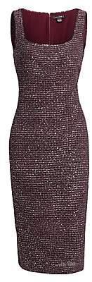 St. John Women's Sequin Tweed Sleeveless Sheath Dress