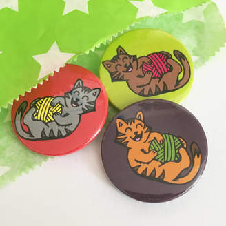 Woah there Pickle Cats Playing With Yarn Badge Set