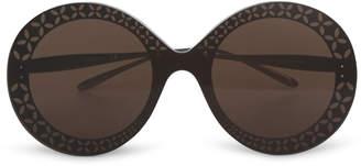Alaia Round-frame metal brown sunglasses
