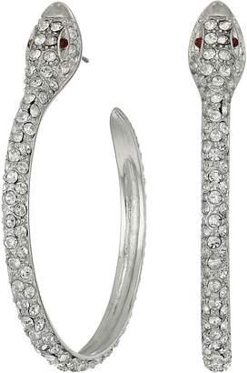 Kenneth Jay Lane Silver/Crystal Pave Snake Hoop Pierced Earrings Earring