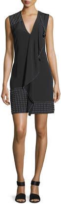 Derek Lam 10 Crosby Sleeveless V-Neck Cascade Dress w/ Beading