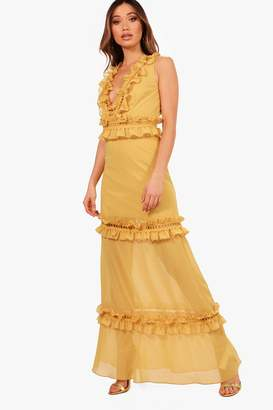 boohoo Boutique Cait Ladder Trim Ruffle Maxi Dress