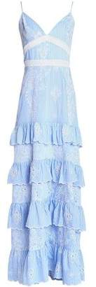Nicholas Tiered Broderie Anglaise Voile Gown