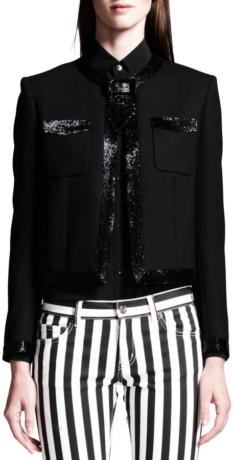 Saint Laurent Faux-Bow Shimmery Cropped Jacket
